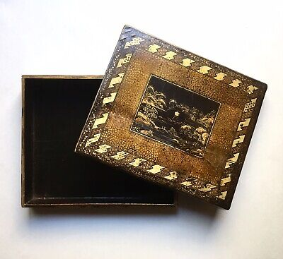 Antique Chinese Export Armorial Lacquer Game Box w/ Royal Cypher Monogram, Qing