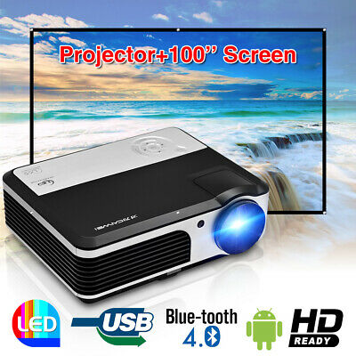 LED HD Android WiFi Projector Bluetooth Home Cinema Movie 1080p HDMI+100''Screen