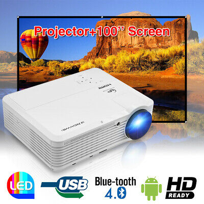 6000lms HD LED Smart Android 6.0 WiFi Projector Bluetooth HDMI USB+100'' Screen