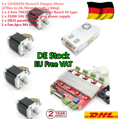 【EU+DE】 4 Axis Stepper Motor 76mm 270oz.in+3A TB6560 Driver Board Nema23 CNC Kit