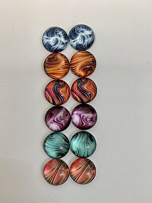 6 Pairs Of 8mm Glass Cabochons #499