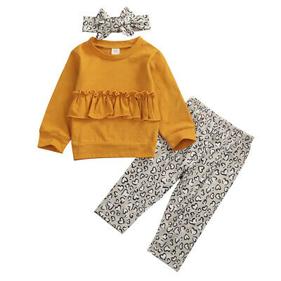 UK Toddler Kids Baby Girls Leopard Tops Pants Leggings Outfits Clothes Tracksuit