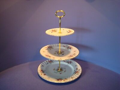 Three Tier Cake Stand, Minton Marlow Pattern, Floral Spray's