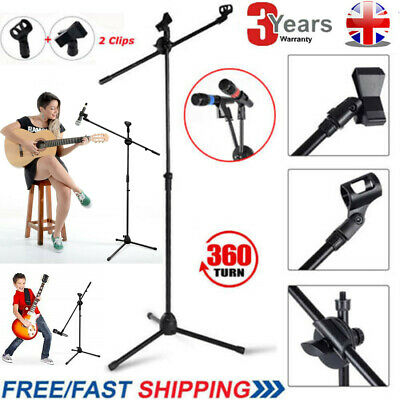 Professional Boom Microphone Mic Stand Holder Adjustable With 2 Free Clips UK