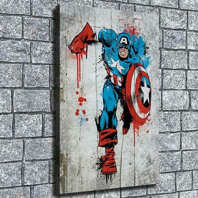 """12""""x22""""Running captain America HD canva home decor wall art picture poster photo"""