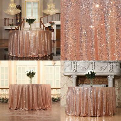 Eternal Beauty Sparkly Round Sequin Tablecloths 127 cm, Rose Gold