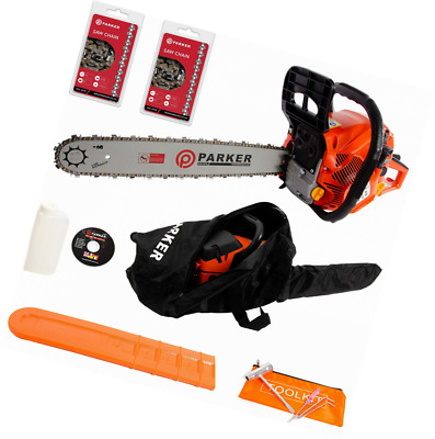 """62CC 20"""" PETROL CHAINSAW + 2 x CHAINS - CARRY BAG - BAR COVER -  KIT - ASSISTED"""