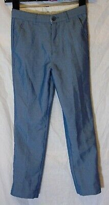 Boys George Shiny Mid Blue Adjustable Waist Formal Suit Trousers Age 7-8 Years