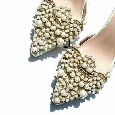 2Pcs Pearl Flower Shoe Clip Rhinestones Iron on Pearl Patch Applique Accessories