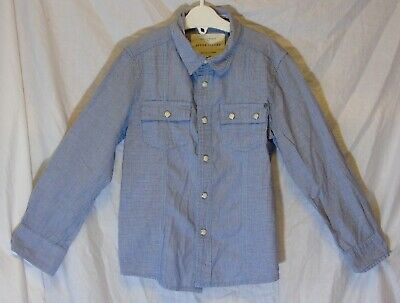 Boys River Island Blue White Check Smart Casual Long Sleeve Shirt Age 5 Years
