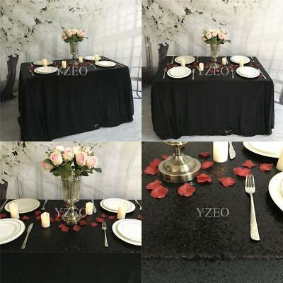 """YZEO Black Sequin Tablecloth Rectangle Table Cover 48""""*72"""","""