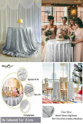 Events Best Choice Silver 48in Round Sequin Table Cover 48-Inch,