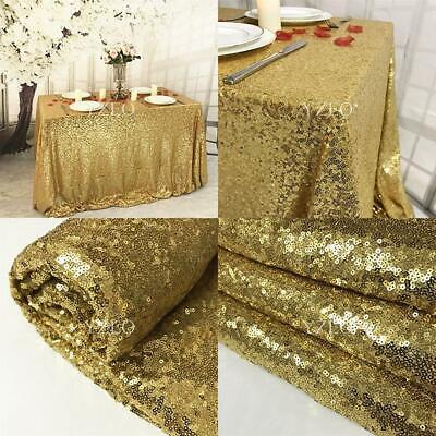 """YZEO 90""""x132"""" Gold Sequin Tablecloth For Wedding Party Festive 90""""*132"""","""