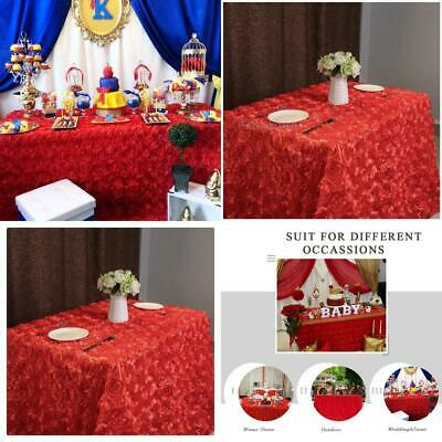 QueenDream Red Rosette Tablecloth Christmas 50''x102'', Rosette-red