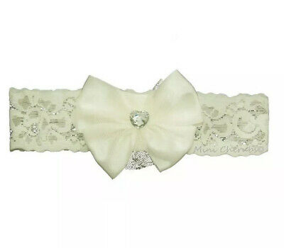 New Soft Touch Baby Girls Ivory Satin lace bow Headband Hairband Hair Band