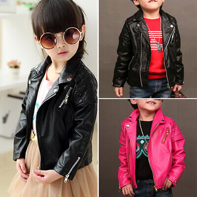Fashion Baby Girls Leather Jacket Zipper Coat Especially 2-5 years Old