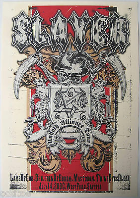 SLAYER- ORIGINAL 2006 s/n POSTER Lamb of God Mastodon Bodom Seattle by M. Fisher