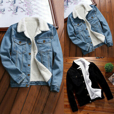 Womens Winter Warm Jean Jacket Fur Collar Fleece Lined Casual Denim Coat Outwear