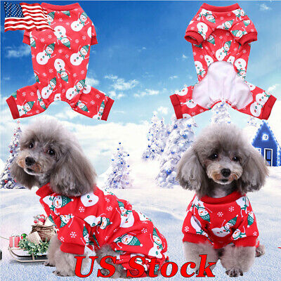 Small Pet Dog Cat Christmas Pajamas Soft Cotton Clothes Coat Apparel Jumpsuit