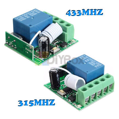 315/433MHz 1 Channel Wireless Relay RF Remote Control Switch Receiver  DC12V 10A