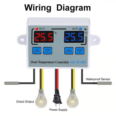 Dual Digital Thermostat Temperature Controller Two Relay Output Thermoregulator