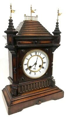 Lovely Antique German Black Forest Castle / Turret Mantel / Bracket Clock