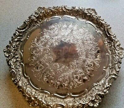 Vintage 6 inch footed  F.B. Rogers Silverplate Trivet/Tray nice condition