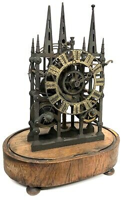 Antique Cathedral Style Double / Twin Chain Fusee Skeleton Clock Liverpool