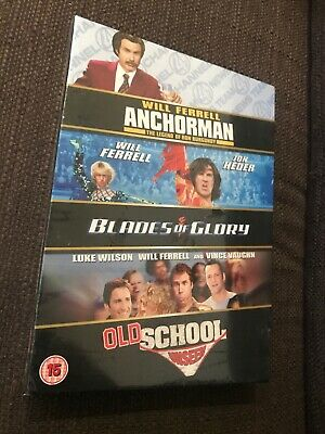 Blades Of Glory/Old School/Anchorman DVD Box Set Sealed Will Ferrell Collection