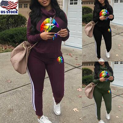 2Pcs Suit Women Casual Tracksuit Jogging Gym Sports Hoodies Sweatshirt Pants USA