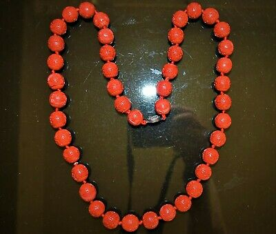 Antique Chinese cinnabar round beads necklace 43 red beads fine carved  Longevit