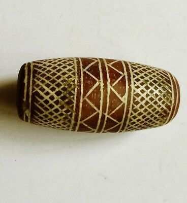 Ancient Afghanistan Mediterranean hard stone  barrel bead pendant carved grid