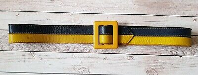 Ladies Vintage Navy & Yellow Striped Leather Belt - Small Size