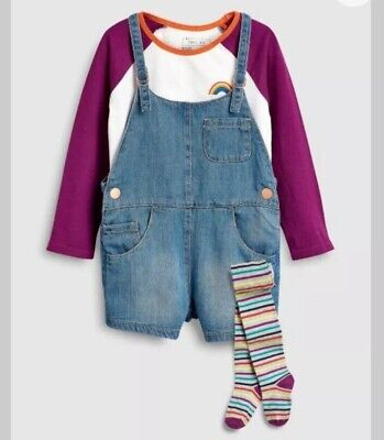 NEXT BNWT Girls Denim Dungarees, Top And Tights Age 2-3 Years £26