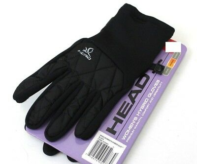 New Womens Large Head Hybrid Warm Ski Gloves Black Touchscreen Compatible