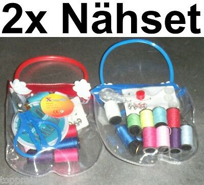 2x Sewing Set Thread Needle Scissors Measuring Tape Yarn Chest Box Safety Pin
