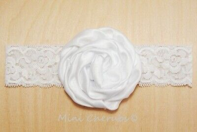 Baby Girls White Satin Rose Stretch Lace Headband Christening Occasion 0-6 Month