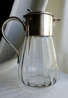 Modern WMF Germany Eisenberg Lozano Optic Glass Silver Plate Large Pitcher 12""