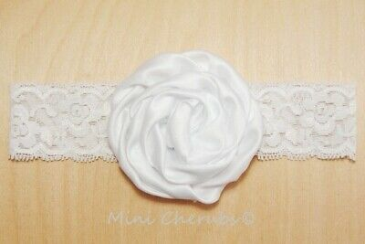 Baby Girls White Satin Rose Stretch Lace Headband Christening Occasion 6-12 mths