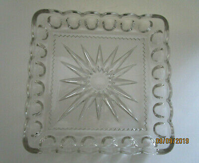 """Vtg Georges  8 x 8"""" Square cut  Glass Tray"""