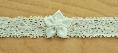 Baby Girls Ivory Lace Satin Flower Stretch Headband Christening Occasion Newborn