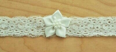 Baby Girls Ivory Lace Satin Flower Stretch Headband Christening Occasion 6-12 M