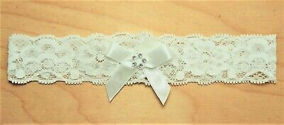 Baby Girls Ivory Stretch Lace Diamante Bow Headband Christening Occasion 0-6m