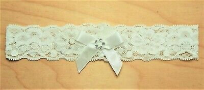 Baby Girls Ivory Stretch Lace Diamante Bow Headband Christening Occasion 6-12m