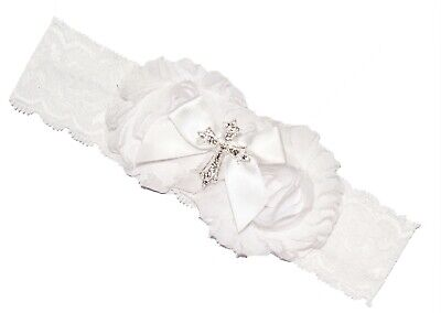 Baby Girl White Lace Cross Christening Headband Hairband Baptism Wedding 0-6m