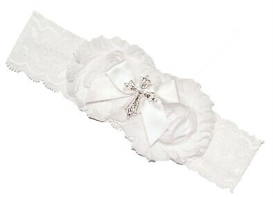 Baby Girl White Lace Cross Christening Headband Hairband Baptism Wedding 6-12m