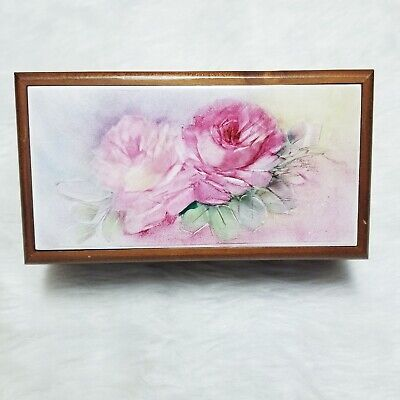 GORGEOUS Vintage Jewelry Wooden Trinket Box with Painted Procelain Roses WOW!