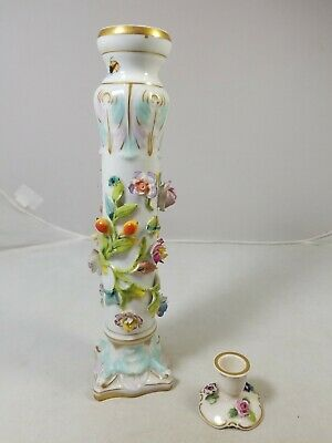 2 German Porcelain Candle Holders Von Schierholz, tall one has chips