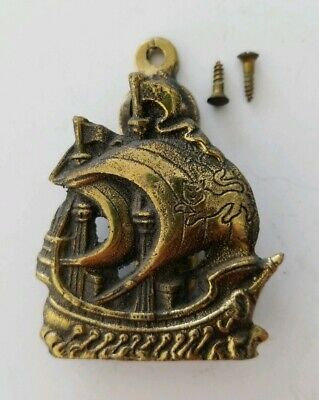 Vintage Brass TALLSHIP with CAT ON MAST Door Knocker ~ BOAT