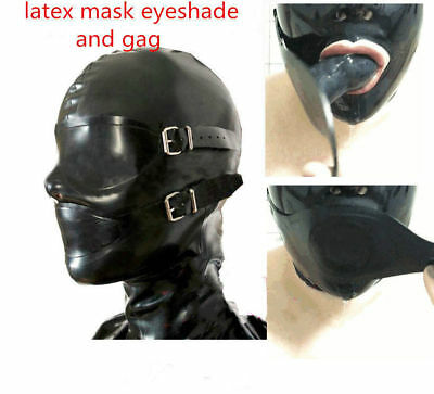 Sexy Latex Mask Rubber Full Enclosure Hood Rubber Hood with Eyeshade and Gag